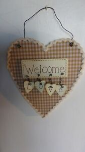Heart Shaped Wall Hanging Notice Welcome - Love in an Ecru Gingham Check