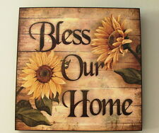 ~BLESS OUR HOME~ 16 x 16 Sunflowers Wall Art - Beautiful Quality Wall Hanging