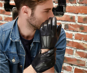 man cool new unlined real Italy real leather gloves black
