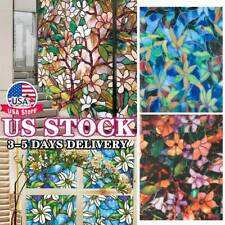 Decorative Privacy Window Film Static Cling Frosted Stained Flower Glass Sticker