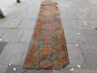 Antique Shabby Hand Made Turkish Ushak Oushak Blue Wool Lang Runner 380x90cm