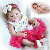 Hot Full Body Silicone Girl Doll Handmade Reborn Baby Soft Newborn Kids Gift 22""