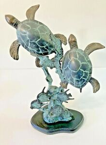 SEA TURTLES And Fish Bronze Statue Art Sculpture BEAUTIFUL
