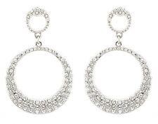Zest Swarovski Crystal Double Circle Earrings for Pierced Ears Clear & Silver