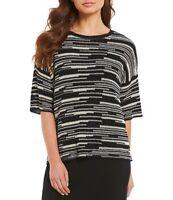 $198 Eileen Fisher Black/ Natural Organic Linen & Cotton Line-Print Top