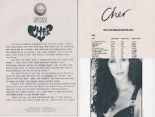 "Cher Geffen Records Press Kit-8"" x 10"" B & W Photo+Synopsis+Discography-1989-#6"