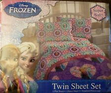 Disney Frozen 3 Piece Twin Sheet Set Anna and Elsa Flowers Floral Brand New Pack