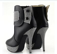 Show Story Black Button Striped High Heel Stiletto Platform Ankle Boots 10