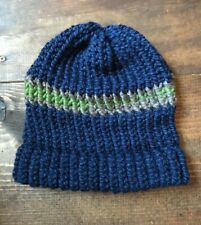 Handmade Knitted Adult Hat-Beanie-Stocking Cap-Knit-Blue Green Brown-Striped-New