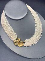 Women's Necklace 1950's multi strand Cream White Tiny Glass Beaded Toursade