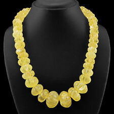 658.00 CTS NATURAL UNTREATED RICH YELLOW CITRINE ROUND CARVED BEADS NECKLACE