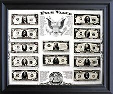 Old US Currency Money Dollar Bills Wall Decor Black Framed Picture Art (19x23)