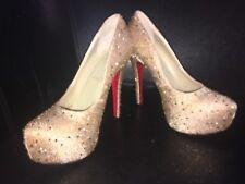 Christian Lebouutin Gold Crystal Shoes 37