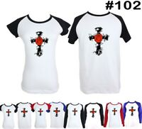 LOVE Red Rose and Cross Design Couple T-Shirt Men's Women's Graphic Tee Tops