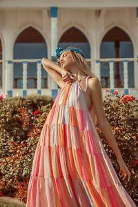 Sundress Calypso Marbella peach  Long/Maxi Dress L/XL rrp £220 bnwt