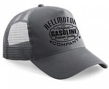 Hellmotors Gasoline Trucker Cap Oldschool Rockabilly Kappe Hotrod V8 dunkelgrau