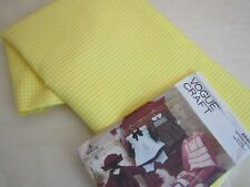 "Vintage Yellow Gingham Fabric 100% Silk 1/8"" Check Quilt Antique Dolls 45W BTHY"
