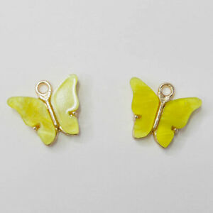 10pc Acrylic Butterfly Charms Pendant Crafts for Necklace Earring Jewelry Making