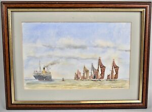 Framed Watercolour Painting Steamer Passing Barges Seascape By Howard Whiteley