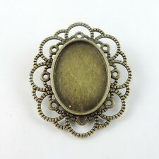 38775 Vintage Bronze Alloy Oval Cameo Setting Pin Brooch Base 25*18mm 8pcs