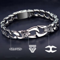 Two Tone Silver Stainless Steel Men's Chain Link Bracelet Wristband Cuff Bangle