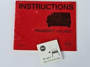 Leitz Pradovit CA 2502 Projector Original Instructions + Lamp Centering Card