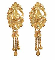 Indian Handmade Solid 22K 22 Carat Yellow Fine Gold Hanging Chain Earrings