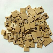 100 WOODEN SCRABBLE TILES BLACK LETTERS NUMBERS FOR CRAFTS UK