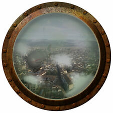 "26"" Inch Steampunk Porthole Airship Over the City Wall Decal - Silver Frame"