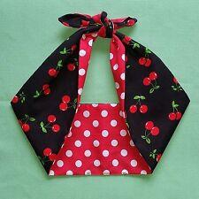 cherry polka dot red rockabilly,pin up, tattoo, bandana headband,hairband