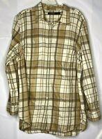 Lauren Ralph Lauren Women's 100% Cotton Tan Plaid Button Front Shirt Size 2X