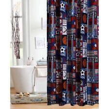 Boys Shower Curtain For Kids Fabric Teens Multi Sports Print Patchwork Bathroom