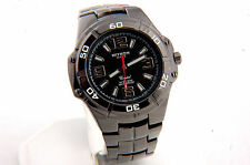 Black Stainless Steel Watch with silver Dial Numbers Water Proof 50 METERS