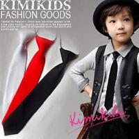 Boys Kids Children Elastic Wedding Narrow School Solid Satin Formal Tie Necktie
