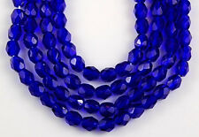 100 pcs 4 mm Cobalt Blue Round Faceted Fire Polished Loose Glass Beads Craft