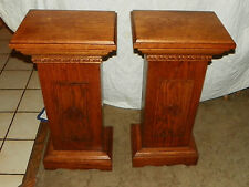 Pair of Oak Odd Fellows Pedestals  / Plant Stands (T360)