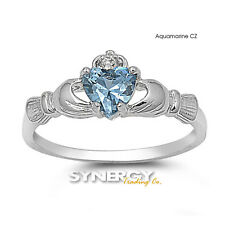 .925 Sterling Silver Love Heart CZ Claddagh Promise Ring Size 4 5 6 7 8 9 10