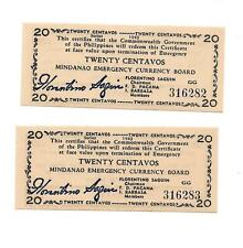 Philippines Emergency Currency Mindanao 20 Centavos Sequential Numbers # 316282