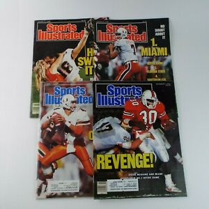 Sports Illustrated Magazine 1980s/90s College Football Miami Hurricanes Lot Of 4