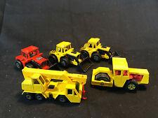 Old Vtg Matchbox Diecast LOT Tractor Shovel Crane Truck Bomag Road Roller