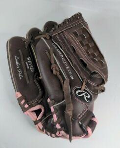 "Rawlings Pink trim girls softball Glove WFP120 Leather Palm 12"" LHT - See Pics"