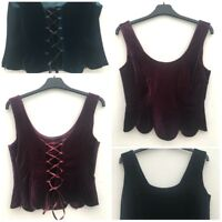 Ladies Velvet Corset Top Purple Teal Or Black Size 10-18 *NEW*