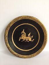 Antique Burmese black lacquer plate