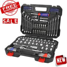TOOL SET MECHANICS METRIC SAE Socket Drive Ratchet Wrench 145-Pieces Case Chrome