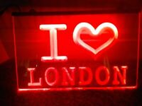 I (HEART) LOVE LONDON - Red Sign Light Advertisement Neon Signage Ad Souvenir