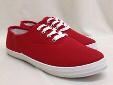 Ladies Flat Red Plimsoles Plimsolls Trainers Lace Up Canvas Pumps Shoes UK Size