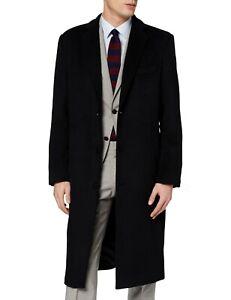 Mens Black Long Overcoat Wool & Cashmere Warm Winter MOD Cromby