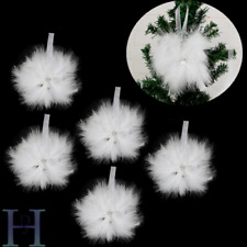 6X Christmas Tree White Vintage Hanging  Feather Star Bauble Ornament Decoration