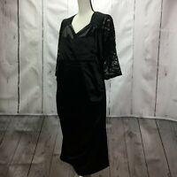 Unbranded Women's Zipper Back Lace Sleeve Cocktail Dress Black Size 2XL