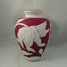 Ruby cameo glass flower art glass vase Olver tulips